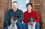 SANDY AND MARK YATES  WITH 2 GSP PUPS:KENAI AND SOPHIE IN HELENA MONTANA